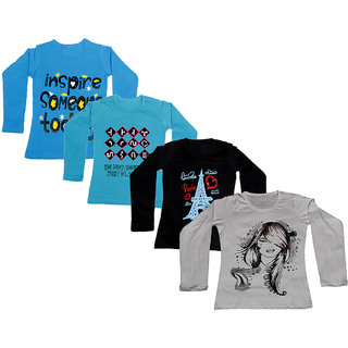 IndiWeaves Girls Cotton Full Sleeves Printed T-Shirt (Pack of 4)_Blue::Blue::Black::White_Size: 6-7 Year