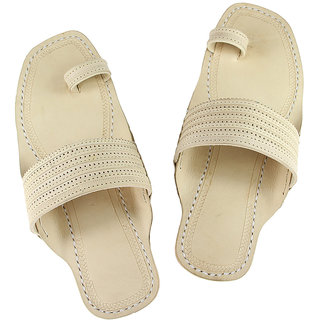 Natural, punching upper belt, toe ring style leather chappal for men