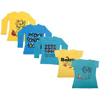 Indistar Girls 3 Cotton Full Sleeves and 2 Half Sleeves Printed T-Shirt (Pack of 5)_Yellow::Blue::Blue::Yellow::Blue_Size: 6-7 Year