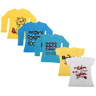 Indistar Girls 3 Cotton Full Sleeves and 2 Half Sleeves Printed T-Shirt (Pack of 5)_Yellow::Blue::Blue::Yellow::Grey_Size: 6-7 Year