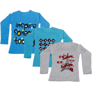 Indistar Girls Cotton 3 Full Sleeves Printed T-Shirt (Pack of 2)_Blue::Blue::Grey_Size: 8-9 Year