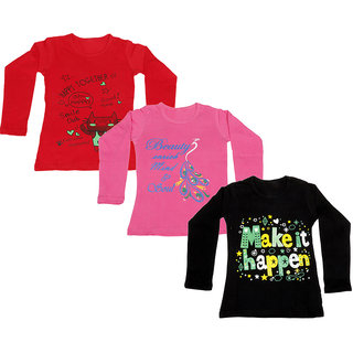 IndiWeaves Girls Cotton Full Sleeve Printed T-Shirt (Pack of 3)_Red::Black::Pink_Size: 6-7 Year