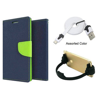 Mercury Wallet Flip case Cover For Micromax Unite 3 Q372  (BLUE) With Micro Usb Flat Cable + Ok mobile Stand