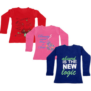 IndiWeaves Girls Cotton Full Sleeve Printed T-Shirt (Pack of 3)_Red::Purple::Pink_Size: 6-7 Year