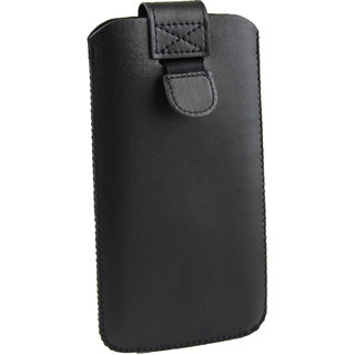 Emartbuy Black Plain Premium PU Leather Slide in Pouch Case Cover Sleeve Holder ( Size LM2 ) With Pull Tab Mechanism Suitable For Xolo Era 4G