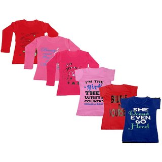 IndiWeaves Girls 3 Cotton Full Sleeves and 3 Half Sleeves Printed T-Shirt (Pack of 6)_Red::Red::Pink::Pink::Black::Blue_Size: 6-7 Year