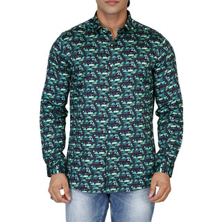 Lawman PG3 Green Button Down Full sleeves Casual Shirt For Men