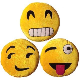 3f4783b6525 Buy MARAMI Velvet 3 Piece Emoji Smiley Cushion Set - 13 inch x 13 inch, Yellow  Online @ ₹775 from ShopClues
