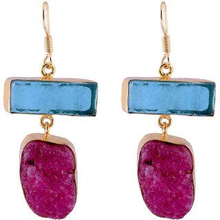 Jewel Fab Art Wonderful Blue Topaz And Druzy Gemstone Handmade Silver Gold Plated Earring Jewelry