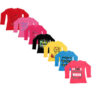 IndiWeaves Girls Cotton Full Sleeve Printed T-Shirt (Pack of 7)_Red::Red::Blue::Yellow::Black::Red::Pink_Size: 6-7 Year