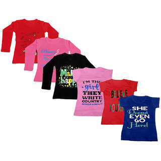 IndiWeaves Girls 3 Cotton Full Sleeves and 3 Half Sleeves Printed T-Shirt (Pack of 6)_Red::Black::Pink::Pink::Red::Blue_Size: 6-7 Year