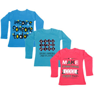 IndiWeaves Girls Cotton Full Sleeve Printed T-Shirt (Pack of 3)_Blue::Red::Blue_Size: 6-7 Year