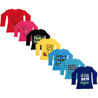 IndiWeaves Girls Cotton Full Sleeve Printed T-Shirt (Pack of 7)_Red::Purple::Blue::Blue::Yellow::Black::Red_Size: 6-7 Year