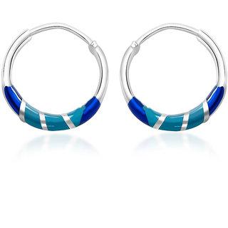 d9e904ad9 Buy Taraash 925 Sterling Silver Blue & Sky Blue Enamel Hoop Earrings For  Women CBHP035I-01 Online @ ₹770 from ShopClues