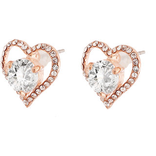 Jazz Jewellery Rose Gold Plated Heart Shape White Cubic Zirconium Stud Earring For Women and Girls