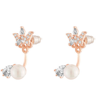 Jazz Jewellery Rose Gold Plated Crown Shape White Cubic Zirconium & Pearl Studded Designer Studs For Women and Girls