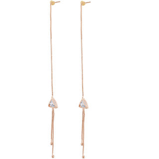 Jazz Jewellery Rose Gold Plated Triangle Drop Rhinestone Studded Thread and Needle Drop Earring For Women and Girls