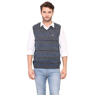 Duke Blue Sleeveless Cardigan For Men