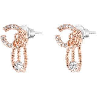 Jazz Jewellery Rose Gold Plated Flower Shape Micro Settled American Diamond Studded Designer Earring