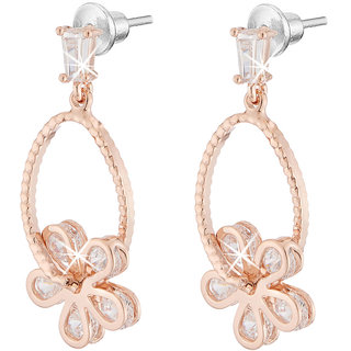 Jazz Jewellery Rose Gold Plated Flower Shape White Cubic Zirconium Drop Earring For Women and Girls