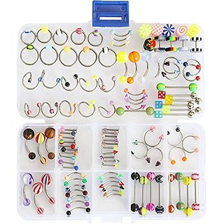Oasis Plus 100pcs 15 Styles 14g 16g Mix Body Piercing Jewelry Kit Navel Belly Button Ring Ear Tongue Nipple Rings Nose E