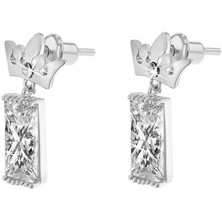Jazz Jewellery Rhodium Plated Crown Shape Ad Cz Drop Earring For Women and Girls