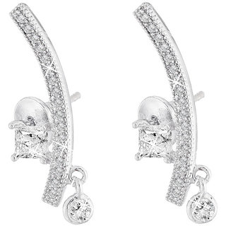 Jazz Jewellery Rhodium Plated Micro Settled American Diamond Studded Designer Earring