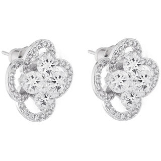 Jazz Jewellery Rhodium Plated Flower Shape White Cubic Zirconium Studs For Women and Girls