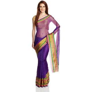 Parchayee Purple Kota Checks Saree With Blouse