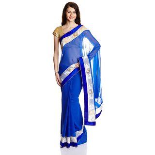 Iraya Blue Solid Georgette Saree With Blouse