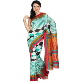 Parchayee Green Printed Art Silk Saree With Blouse