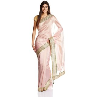 Parchayee Pink Polycotton Plain Saree With Blouse