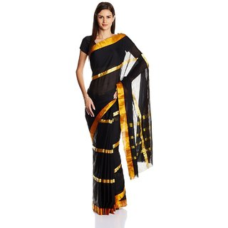 Parchayee Black Cotton Plain Saree With Blouse