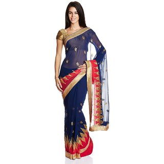 Parchayee Blue Chiffon Embroidered Saree With Blouse