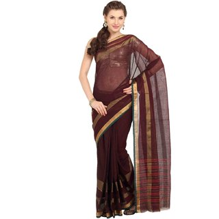 Parchayee Brown Solid Cotton Saree With Blouse