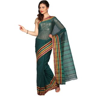 Parchayee Green Solid Cotton Saree With Blouse