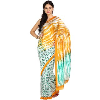 Parchayee Yellow Striped Art Silk Saree With Blouse