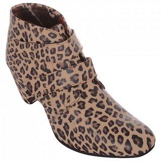 Exotique Womens Leopord Print Casual Boots (EL0032BR)