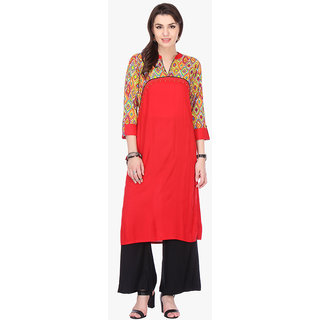 Chigy Whigy Red Rayon Party Wear Printed Stitched Kurti