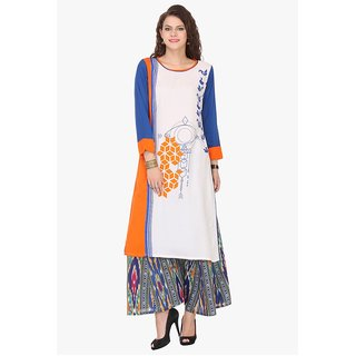 Chigy Whigy White Rayon Party Wear Printed Stitched Kurti