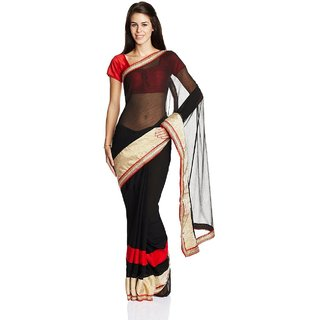 Parchayee Black Chiffon Plain Saree With Blouse