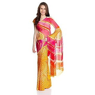 Parchayee Yellow Chiffon Printed Saree With Blouse