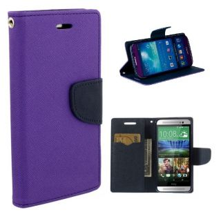 HTC One M8 Wallet Diary Flip Case Cover Purple