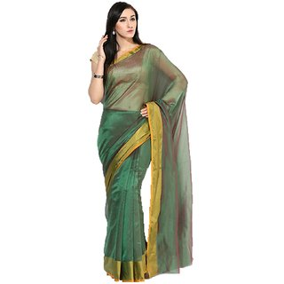 Parchayee Green Solid Mysore Silk Saree With Blouse