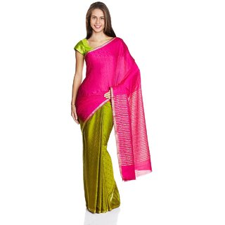 Parchayee Pink Solid Crepe Saree With Blouse
