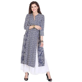 Chigy Whigy Blue Rayon Party Wear Printed Stitched Kurti