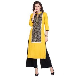 Chigy Whigy Yellow Rayon Party Wear Printed Stitched Kurti