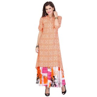 Chigy Whigy Orange Rayon Party Wear Printed Stitched Kurti
