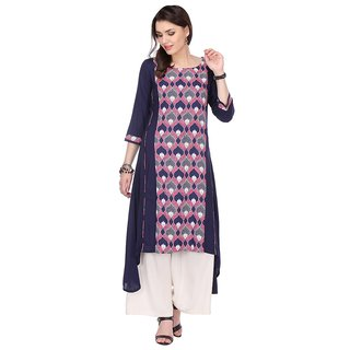 Chigy Whigy Navy Blue Rayon Party Wear Printed Stitched Kurti