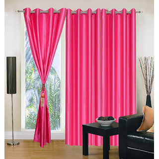 Exclusive Set of 3 Plain Dark Pink Door Curtain